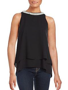 Saks Fifth Avenue RED Pearl-Trimmed Sleeveless Top - Black - Size