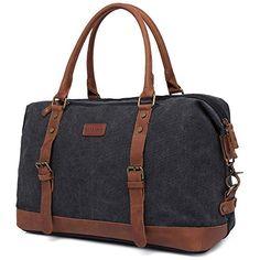 GINGOOD Vintage Canvas Business Bag Bookbag Men Casual Satchel Shoulder Bag 201 Black *** Click image to review more details.