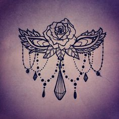 Rose beads sternum design tattoo