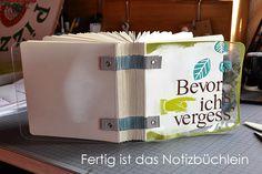 Notizbuch mit Grungeboard-Riemenbindung - by Dani Peuss, klasse Idee und Fotoanleitung
