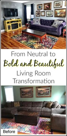 From neutral to bold and beautiful. A living room makeover in bold purple, orange and yellow with vintage style gallery wall and painted furniture.