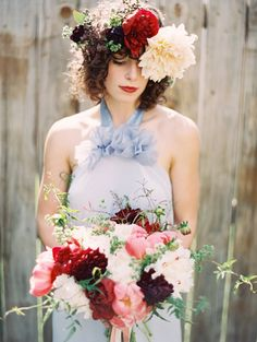 Peony and dahlia flower crown and bouquet, by JMFlora Design, photography by Laura Gordon.  Dress by Dolly Pearl