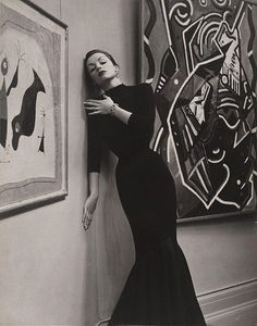 Patricia Tuckwell in a black fish tail dress, 1953