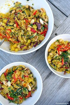 Moroccan couscous with roasted vegetables - Lovemyfood. Vegan Couscous Recipes, Vegetarian Recepies, Healthy Recepies, Veggie Recipes, Healthy Food, Diner Recipes, Comfort Food, Dinner Dishes, Vegan Dinners
