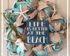 Beach Themed Wreath Starfish Wreath Nautical by VivsCustomWreaths