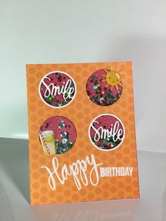 A Fun Shaker card created by Mary Ellen Lounsbery using the Simon Says Stamp June 2015 card kit.