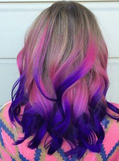 Pink purple ombre dyed hair color @hairbybrookegoodman