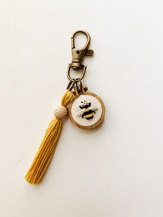 embroidery designs free pattern Keychain made by MustardThread Simple Embroidery, Hand Embroidery Patterns, Cross Stitch Embroidery, Hungarian Embroidery, Embroidery Hoops, Embroidery Jewelry, Broderie Simple, Diy Broderie, Printing On Fabric
