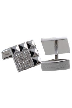 Dupont 14k Solid White Gold & 16 Diamond Square Cufflinks - Beyond the Rack