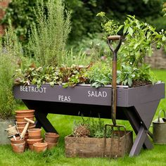 A nice alternative to ground boxed planters for  someone with problem knees or in a wheelchair
