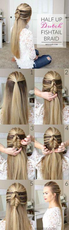 Best Hair Braiding Tutorials - Half Up Mini Dutch Fishtail Braid - Step By Step Easy Hair Braiding Tutorials For Long Hair, Pont Tails, Medium Hair, Short Hair, and For Women and Kids. Videos and Ideas for Dutch Braids, Messy Buns, Fishtail Braids, French Braids, Black Hair, Blondes, And Even For Headbands - https://www.thegoddess.com/best-hair-braiding-tutorials