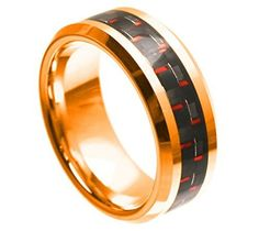 Tungsten Ring Blue and Black Carbon Fiber Inlay and Beveled Edges with Rose Gold Finish 8mm Wedding Band for Men / Women