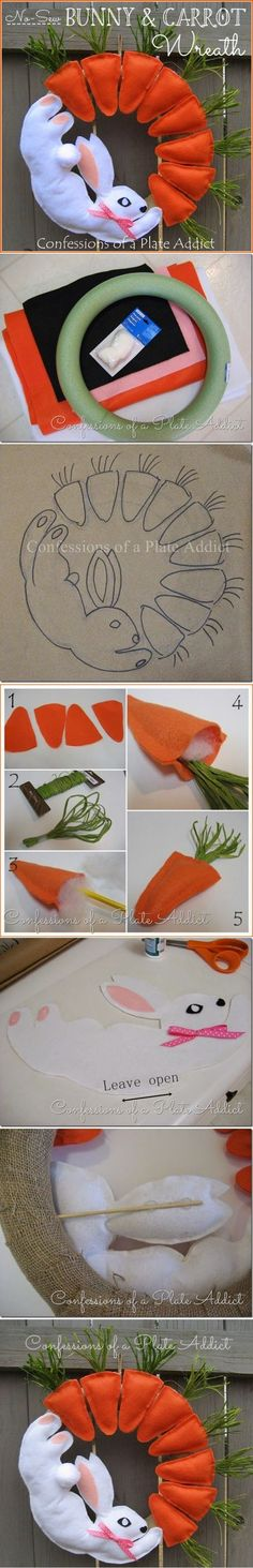 DIY No-Sew Bunny and Carrot Wreath