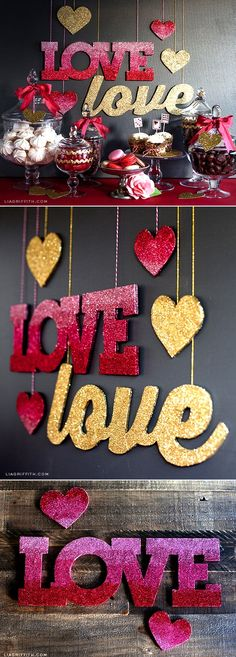 DIY Glitter Love Banners in Gold and Ombre at www.liagriffith.com #love #valentine #diycraft