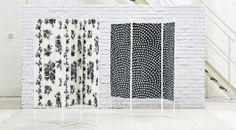 JORDET Raumteiler weiß/Punkte grau oder mit Bespannung bestehend aus ROSMARIE Meterware in Weiß/Grau