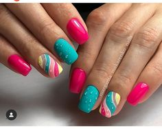 90 Beautiful Square Nails Design Ideas You'll Want To Copy Immediately – Cocopipi Bright Nail Designs, Square Nail Designs, Gel Nail Designs, Nail Design Glitter, Nail Design Spring, Nails Design, Gel Nail Art, Nail Manicure, 3d Nails
