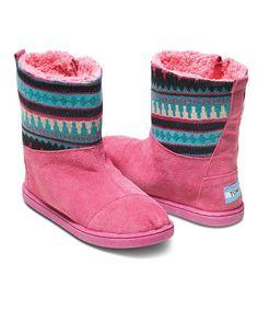 Look at this #zulilyfind! Pink Suede Mix Nepal Boot - Youth #zulilyfinds