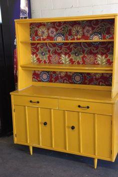 Mustard vintage china cabinet