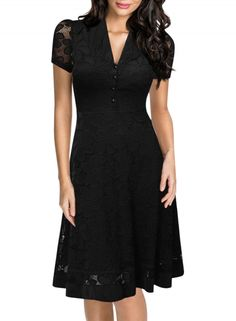 df5c10ca0e6 Women s Black Lace V Neck Short Sleeve Swing Dress - OASAP.com 1950s  Fashion