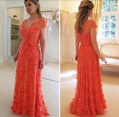 XP108 elegant fashion red evening dresses,v neck short sleeves applqie – FashionDressGallery