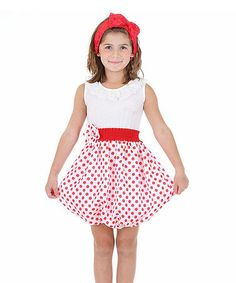 Another great find on #zulily! Red & White Polka Dot Dress - Girls by Dolce Liya #zulilyfinds