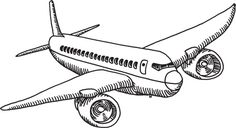 Flying Airplane Drawing