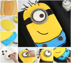 DIY Minion Sheet Cake cake recipe recipes cake recipes how to party ideas minions birthday cakes food tutorials kids cakes