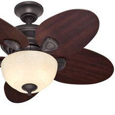 Factory-reconditioned 34-inch New Bronze Finish Ceiling Fan with Italian Amber Scavo Glass Light Kit