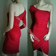 Bebe Red Dress Xs One Shoulder