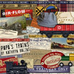 VIntage Train Digital Scrapbooking Kit.