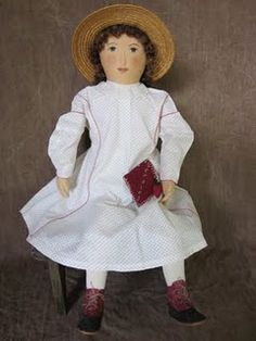 Sweet vintage inspired fabric doll made by Evi