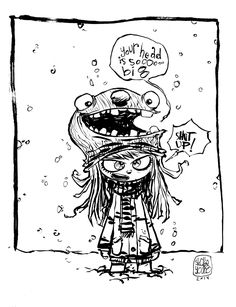 #DailySketch Loud Mouth and the Girl. It's so cold here right now. We have like, all the cold. It inspired this for some reason. i li...
