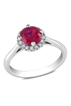 1 CT Created Ruby & 0.1 CT Diamond Ring In Silver