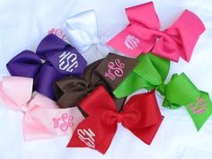 Large Monogrammed Boutique Hair Bow