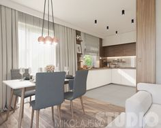 Flat on the Pradnicka street (Kitchen and Salon) on Behance Small Living Rooms, Home And Living, Kitchen Design, Kitchen Decor, Space Interiors, Smart Kitchen, Kitchen Styling, Dining Area, Small Spaces