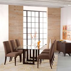 Saloom Serpent Rectangular Glass Top Java Wood Dining Table
