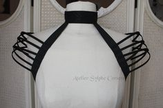 Black neck collar and fantasy shoulders by AtelierSylphecorsets, $36.20