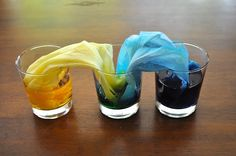 Colored water travel. Okay so I know this is a little fun thing to do with your kids but I am thinking it might work on a larger scale for fabric dye. Worth a try.