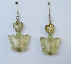 Olivine Green Hearts and Butterfly Earring  by HeartsAndButterfly, $14.95