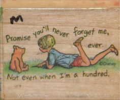 """Winnie the Pooh """"Never Forgets"""" Wood Block Rubber Stamp, E. H. Shepard illustration"""