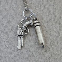 Necklace, Supernatural inspired, Colt Gun Pistol, Silver Bullet, Tibetan Silver Charms, ALL proceeds going to charity