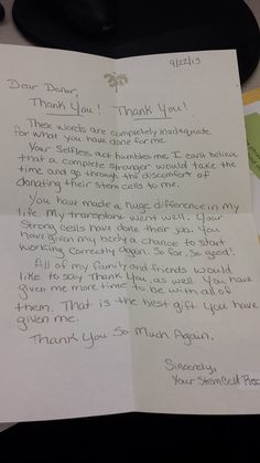 Bone Marrow Recipient Pens Beautiful Thank You Letter To Donor (PHOTO)