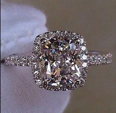 3ct  Cusion Cut Diamond Engagement Ring set in Rhodium plated sterling
