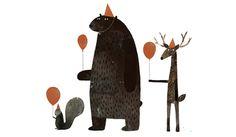happy birthday bear illustration by Jon Klassen Art And Illustration, Illustrations Posters, Project Life Karten, Poster Photo, Jon Klassen, Art Watercolor, Inspiration Art, Animal Party, Party Animals