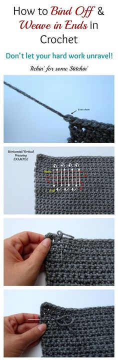 How to Bind Off and Weave in Ends in CrochetNice little tutorial over at Itchin' for Some Stitchin'. A good one to have in your crochet arsenal.