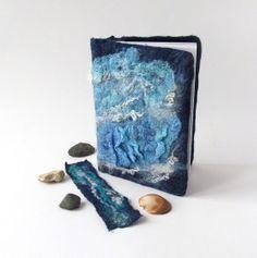 Felted journal notebook cover  blue sea star galaxy от galafilc, $24.00