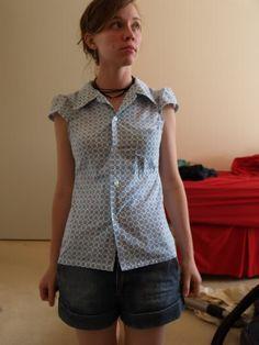 Men's button shirt to cute cap-sleeved top.