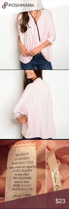 Light Pink Wrap Top Super Cute light pink brand new Wrap Top.  Pair with your favorite skinny jeans and heels to have the perfect style for a night out.  Or wear with cute white cropped capris and flats for a day of shopping.  This is a great versatile Top! Tops