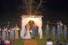 Sunset evening wedding, Jewish tradition, birchwood arbor, chuppah, vintage wedding, barn wedding, Wishing Well Barn, Florida Barn Wedding