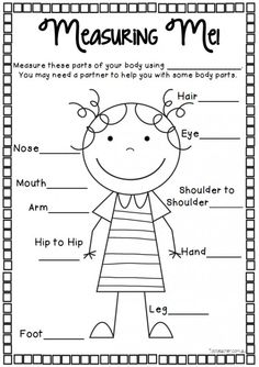 Use this sheet to measure body parts with the unit of your choice -centimetres, cubes, buttons, paper clips etc. Write your chosen unit onto the top of the sheetI like to use string/streamers to measu